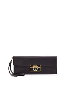 Salvatore Ferragamo Afef Lock Story Wristlet Clutch Bag, Black