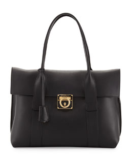Salvatore Ferragamo Sookie Medium Leather Satchel Bag, Black