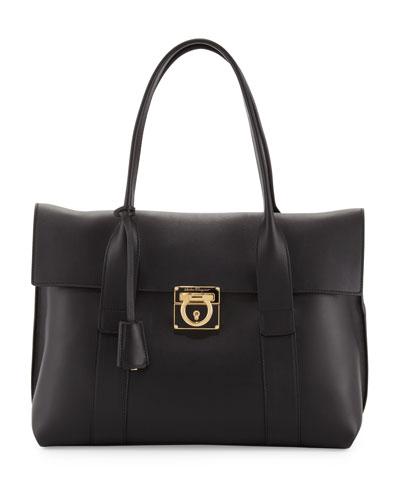 Salvatore Ferragamo Sookie Medium Leather Satchel Bag, Black