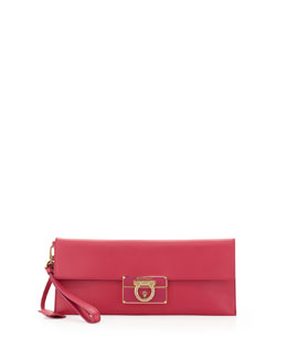 Salvatore Ferragamo Lock Story Enameled Clutch Bag, Hot Pink