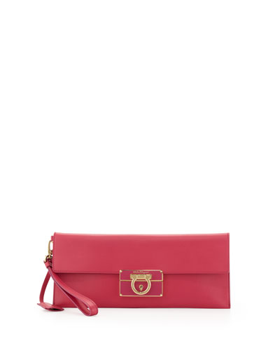 Salvatore Ferragamo Lock Story Enameled Clutch Bag, Hot Pink