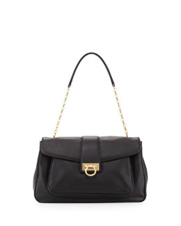 Salvatore Ferragamo Paula Leather Shoulder Bag, Black