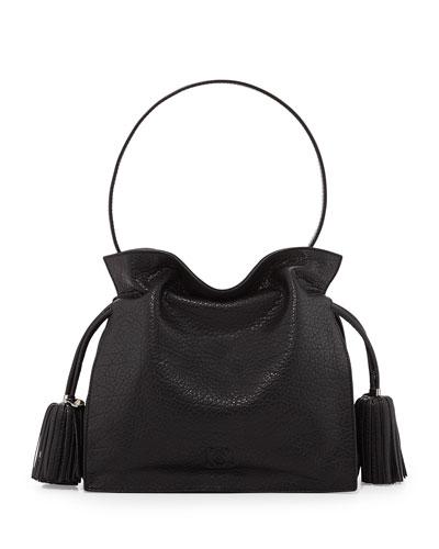 Loewe Flamenco 22 Calfskin Drawstring Bag, Black