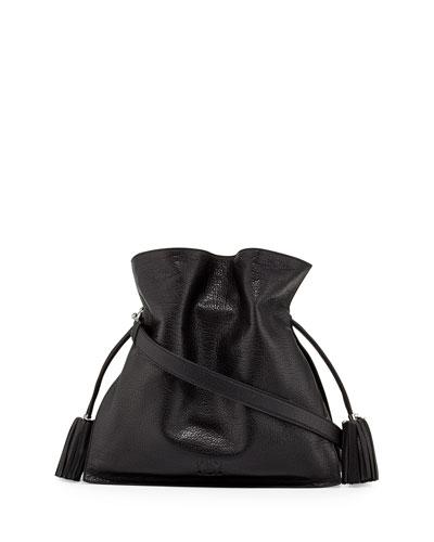 Loewe Flamenco 36 Calfskin Drawstring Bag, Black