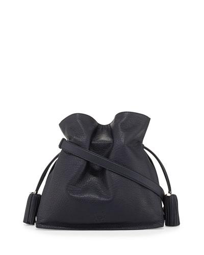 Loewe Flamenco 36 Calfskin Drawstring Bag, Navy