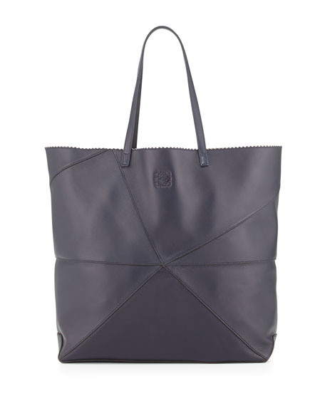 Lia Origami Leather Tote Bag, Navy