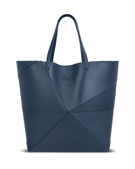 Lia Origami Leather Tote Bag, Light Blue
