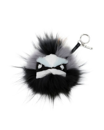 Crystal-Eyed Fur Monster Charm for Handbag