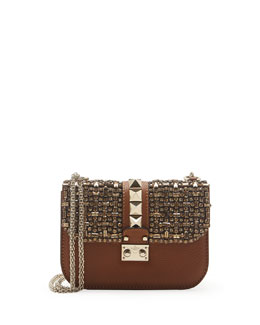 Valentino Small Crystal Lock Shoulder Bag, Tan