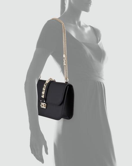 Rockstud Flap Shoulder Bag, Black