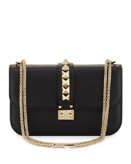 Valentino Rockstud Flap Shoulder Bag, Black