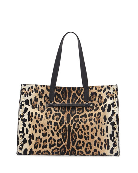 Rockstud Calf Hair Shopping Tote Bag, Leopard