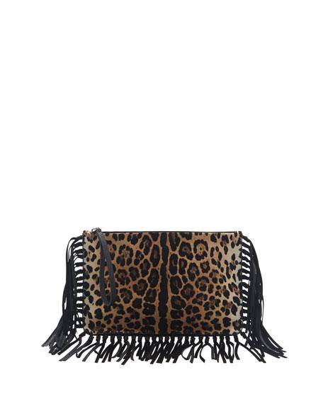 Calf Hair Fringe Clutch Bag, Leopard