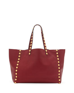 Valentino Gryphon-Stud Shoulder Tote Bag, Red