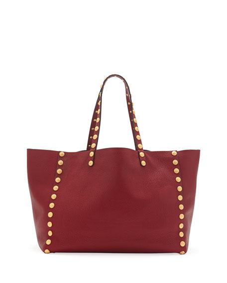 Gryphon-Stud Shoulder Tote Bag, Red
