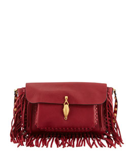 Valentino C-Rockee Scarab Fringe Shoulder Bag, Red
