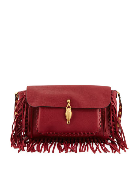 C-Rockee Scarab Fringe Shoulder Bag, Red