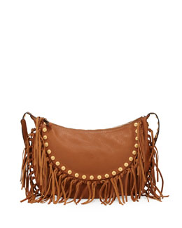 Valentino C-Rockee Studded Fringe Hobo Bag, Tan