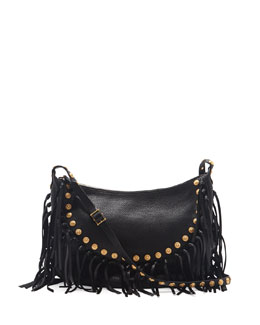 Valentino C-Rockee Studded Fringe Hobo Bag, Black