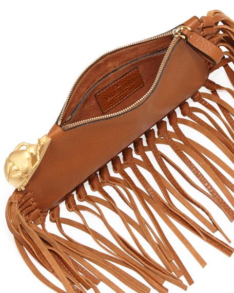 Scarab Finger-Clutch Bag, Tan