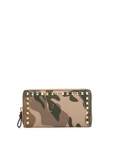 Rockstud Camouflage Zip Clutch, Camo