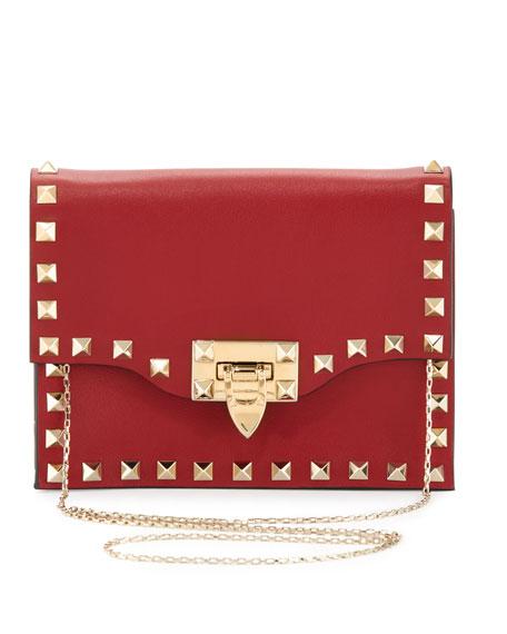 Rockstud Pouch Crossbody Bag, Red