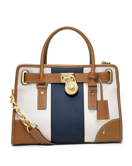 Hamilton Striped Canvas Satchel