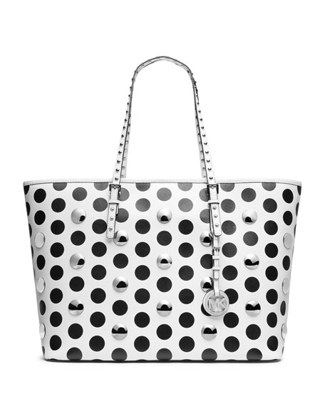 Medium Jet Set Travel Dot-Stud Tote