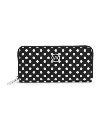 Jet Set Travel Dotted Zip-Around Continental Wallet