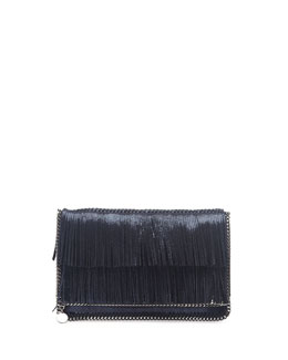 Stella McCartney Falabella Fringe Fold-Over Clutch Bag, Metallic Blue
