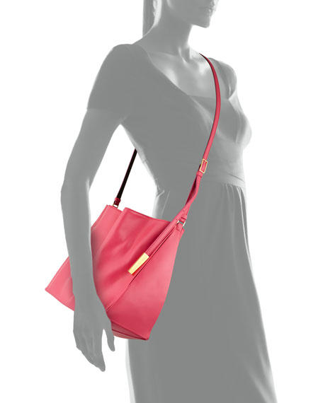 Beckett Faux-Napa Leather Crossbody, Hot Pink