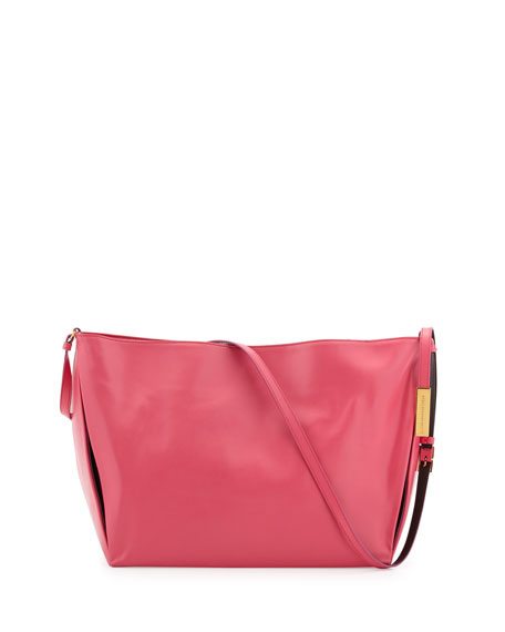 Beckett Faux-Napa Leather Crossbody, Hot Pink