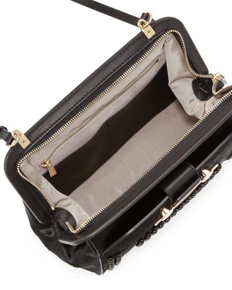Studded Calf Hair Crossbody Bag, Black