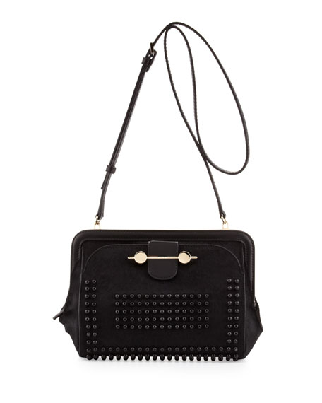 Studded Calf Hair Crossbody Bag, Black