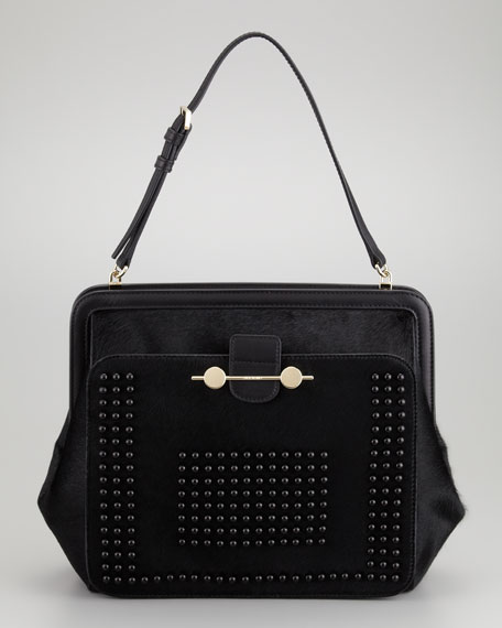 Daphne Studded Calf Hair Shoulder Bag, Black