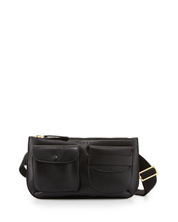 Marni Double-Pocket Leather Belt Bag, Black