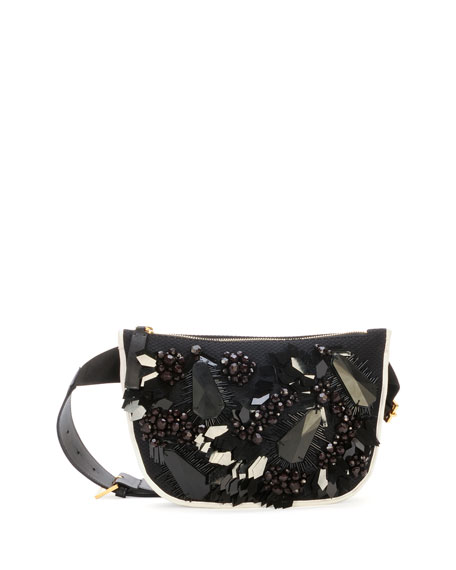 Embroidered & Beaded Belt Bag, Black/White