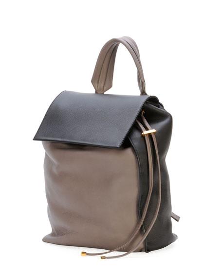 Bicolor Leather Shoulder Bag, Navy/Cream