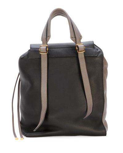 Marni Bicolor Leather Shoulder Bag, Navy/Cream