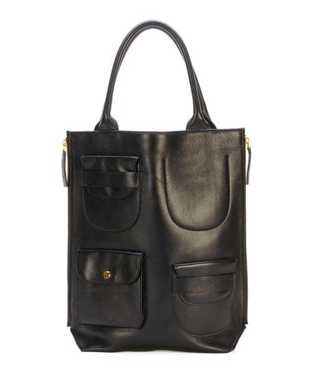 Triple-Pocket Lambskin Tote Bag, Black