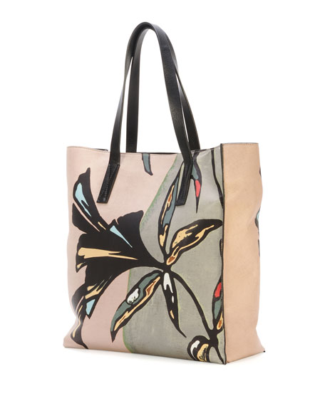 Flower-Print Lambskin Shopper Tote Bag