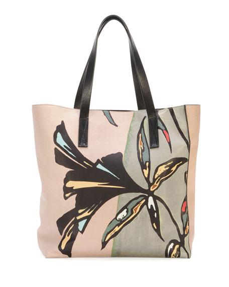Flower-Print Lambskin Shopper Tote Bag