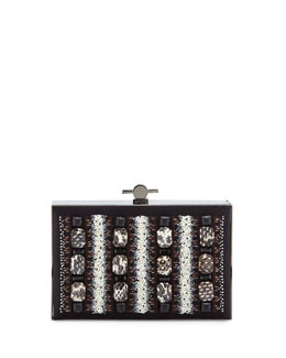 Jason Wu Karlie Watersnake Beaded Satin Box Clutch Bag