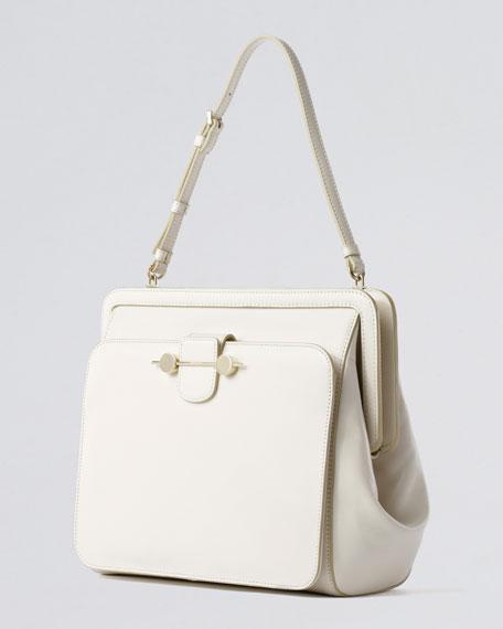Daphne Leather Shoulder Bag, Ivory