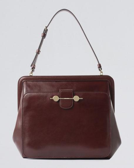 Daphne Leather Shoulder Bag, Black
