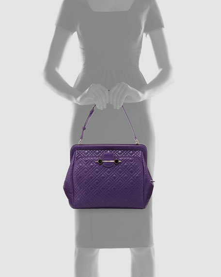 Quilted Leather Satchel Bag, Violet