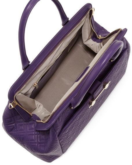 Oversized Quilted Frame Satchel Bag, Violet
