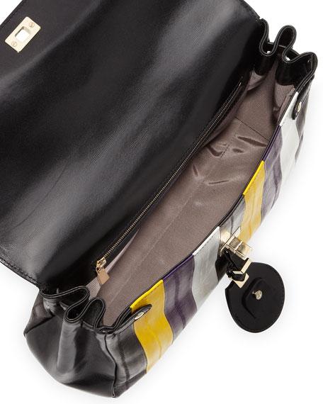 Striped-Eel Shoulder Bag, Gold/Violet