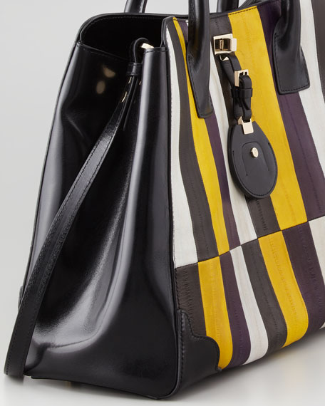 Jourdan Painted Eelskin Tote Bag, Gold/Violet