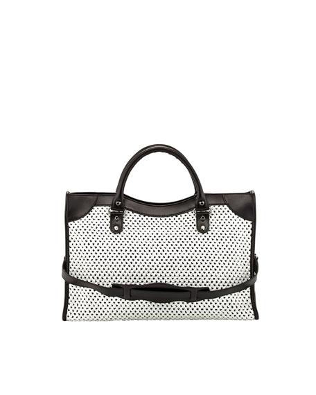 Classic City Woven Bag, White/Black